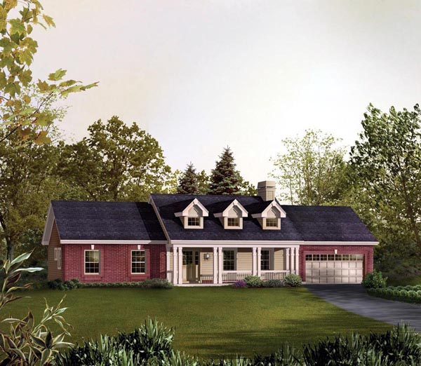Cape Cod, Country, Ranch, Traditional House Plan 95830 with 3 Beds, 2 Baths, 2 Car Garage Elevation
