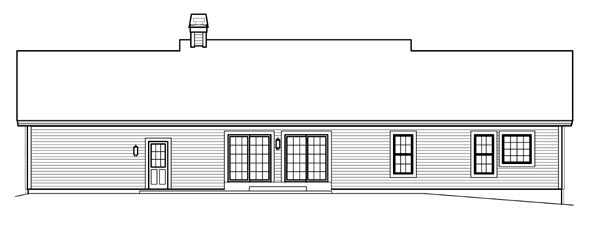 Cape Cod, Country, Ranch, Traditional House Plan 95830 with 3 Beds, 2 Baths, 2 Car Garage Rear Elevation