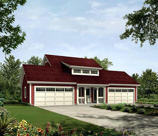Contemporary, Country House Plan 95832 with 1 Beds, 2 Baths, 4 Car Garage Elevation