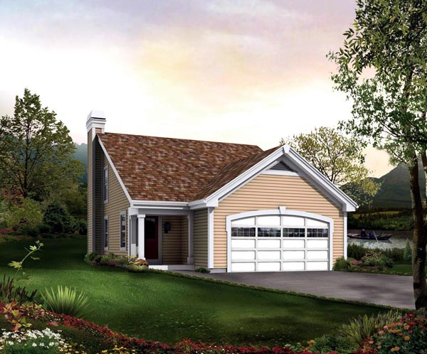 Traditional House Plan 95838 with 2 Beds, 2 Baths, 2 Car Garage Front Elevation