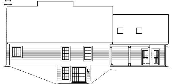 Contemporary, Country House Plan 95848 with 3 Beds, 3 Baths, 2 Car Garage Rear Elevation