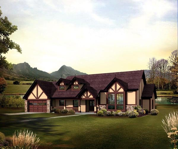 European, Ranch, Traditional, Tudor House Plan 95853 with 4 Beds, 3 Baths, 2 Car Garage Elevation