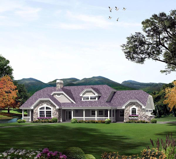 Country, Ranch House Plan 95870 with 3 Beds, 3 Baths, 3 Car Garage Elevation