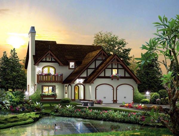 Cabin, Cottage, Craftsman, European, Tudor House Plan 95876 with 3 Beds, 3 Baths, 2 Car Garage Elevation