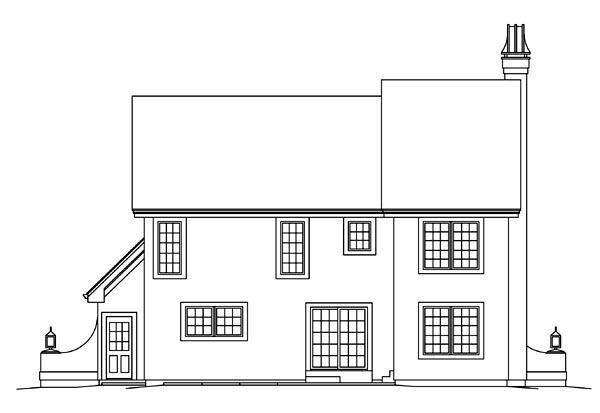 Cabin, Cottage, Craftsman, European, Tudor House Plan 95876 with 3 Beds, 3 Baths, 2 Car Garage Rear Elevation