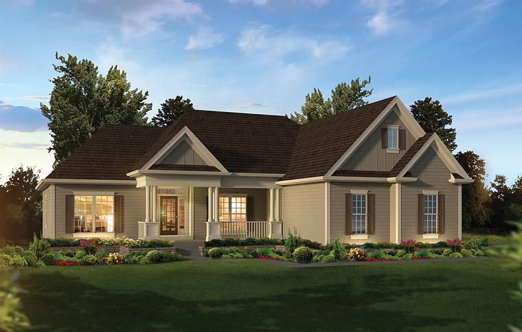 Country, Ranch, Traditional House Plan 95964 with 3 Beds, 3 Baths, 2 Car Garage Elevation