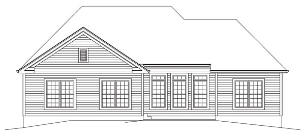 Country, Ranch, Traditional House Plan 95964 with 3 Beds, 3 Baths, 2 Car Garage Rear Elevation