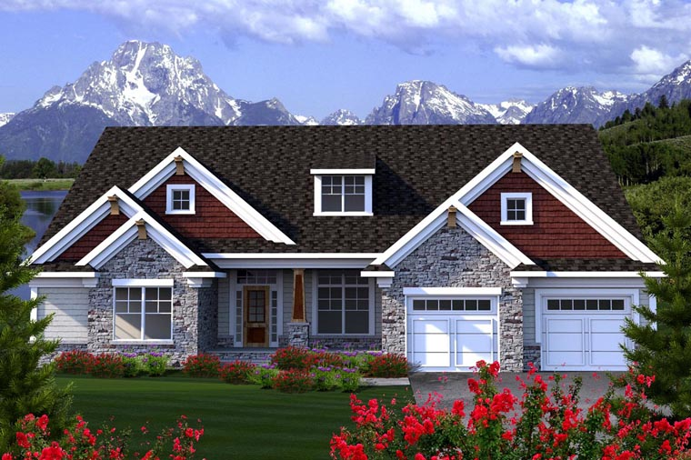 Ranch House Plan 96128 with 3 Beds, 3 Baths, 2 Car Garage Elevation