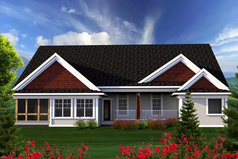 Ranch House Plan 96128 with 3 Beds, 3 Baths, 2 Car Garage Rear Elevation