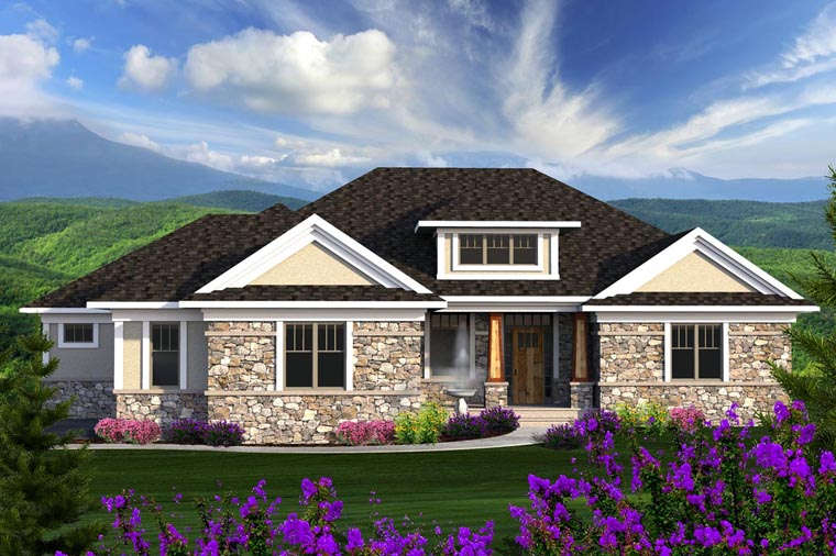 Ranch House Plan 96136 with 2 Beds, 3 Baths, 2 Car Garage Front Elevation