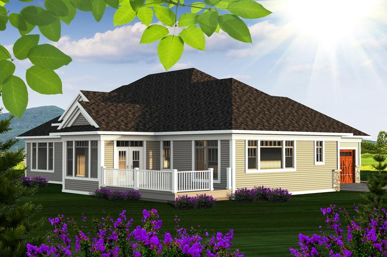 Ranch House Plan 96136 with 2 Beds, 3 Baths, 2 Car Garage Rear Elevation