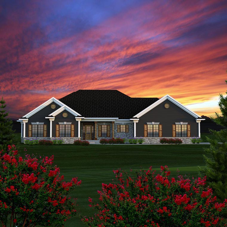 Ranch, Traditional House Plan 96152 with 3 Beds, 3 Baths, 2 Car Garage Front Elevation