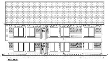 Craftsman House Plan 96200 with 2 Beds, 2 Baths, 3 Car Garage Rear Elevation
