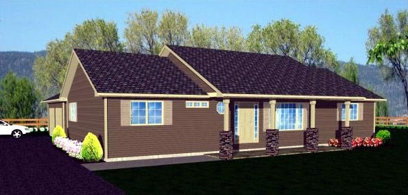 Ranch House Plan 96211 with 3 Beds, 2 Baths, 2 Car Garage Elevation