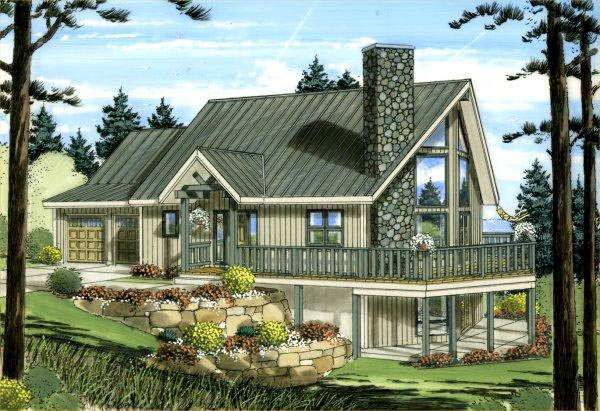 Contemporary House Plan 96212 with 2 Beds, 2 Baths, 2 Car Garage Elevation