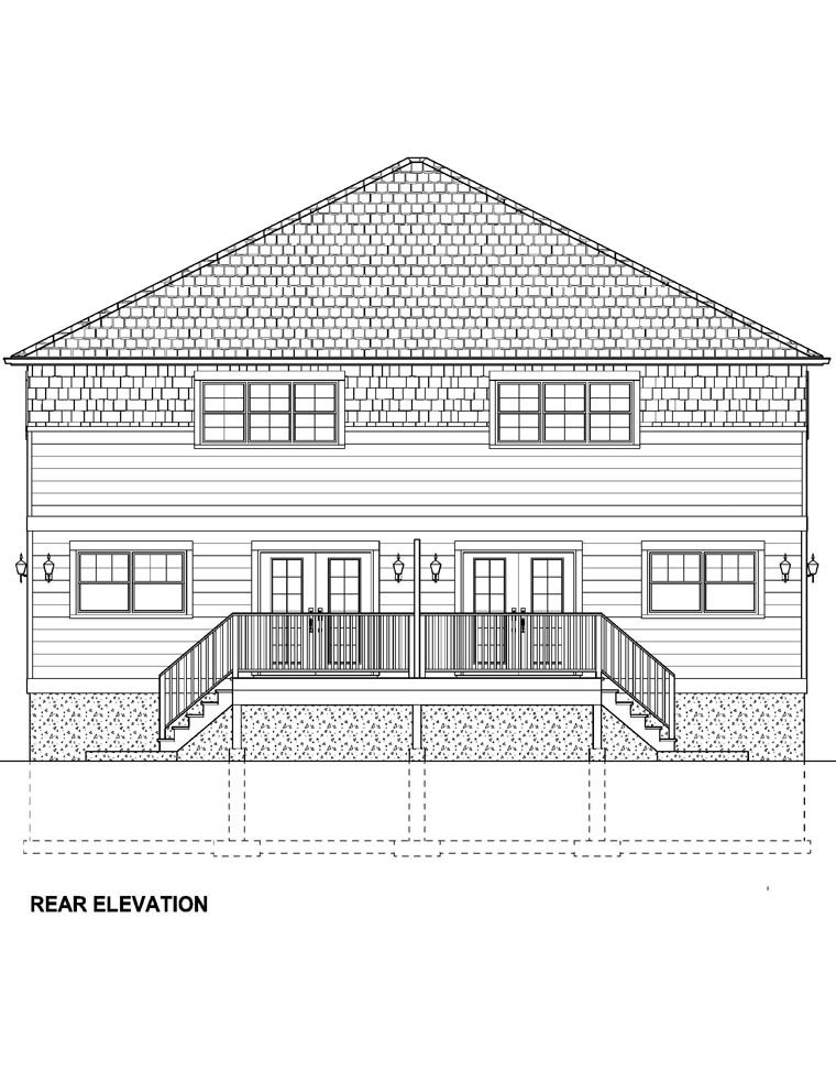 Craftsman Multi-Family Plan 96213 with 10 Beds, 8 Baths, 2 Car Garage Rear Elevation