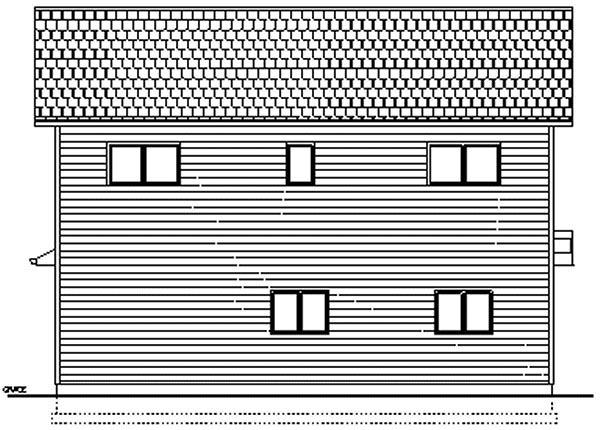 2 Car Garage Apartment Plan 96214 with 2 Beds, 2 Baths Rear Elevation
