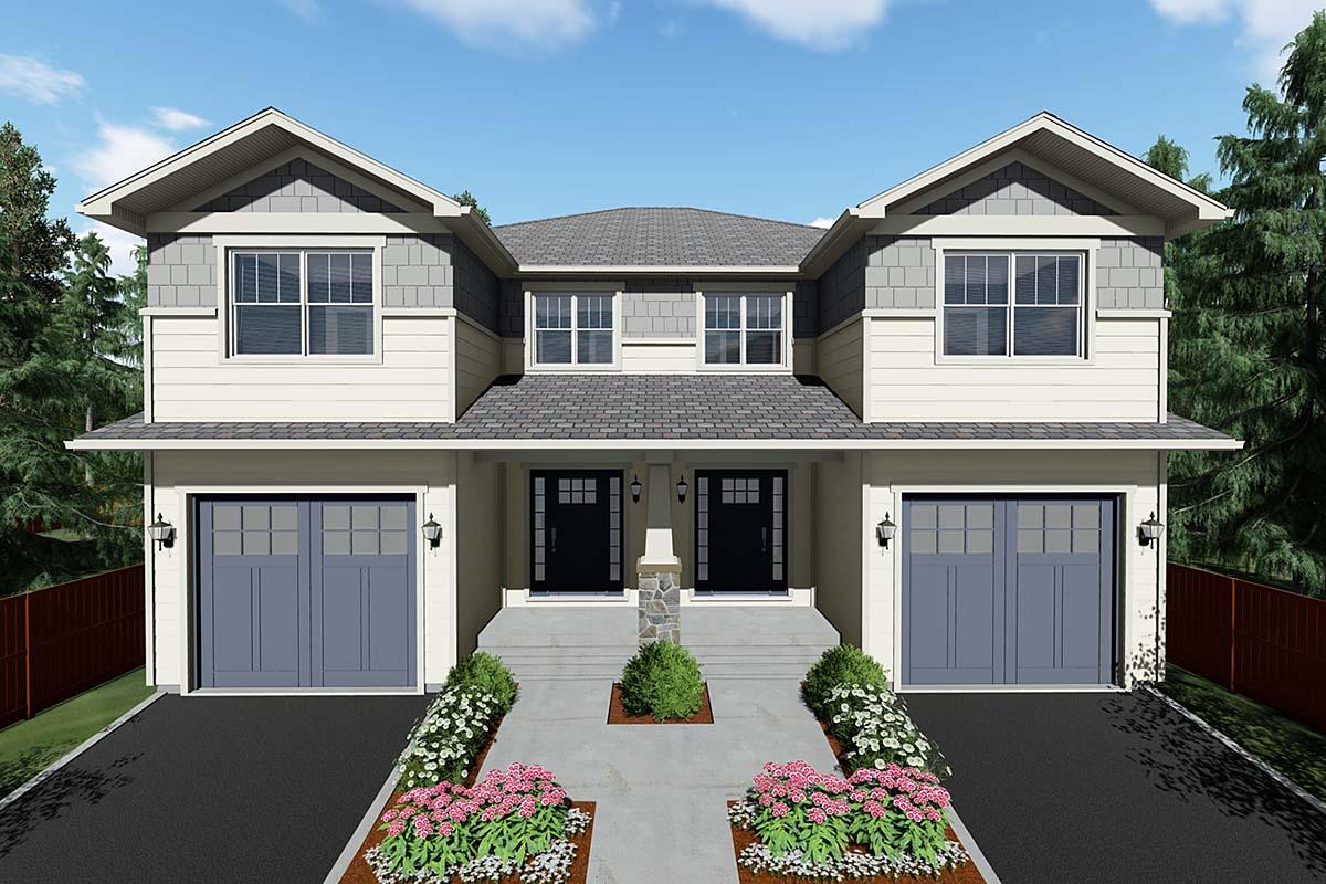 Craftsman Multi-Family Plan 96222 with 6 Beds, 6 Baths, 2 Car Garage Elevation