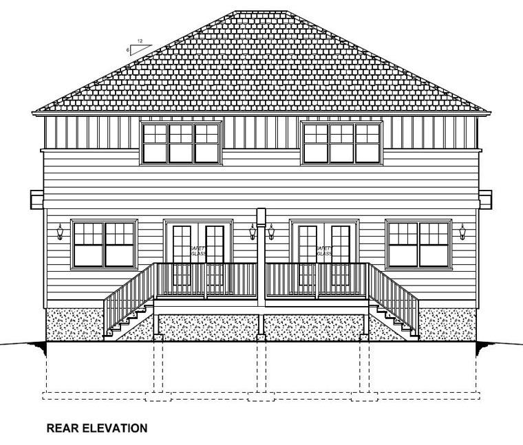 Craftsman Multi-Family Plan 96222 with 6 Beds, 6 Baths, 2 Car Garage Rear Elevation