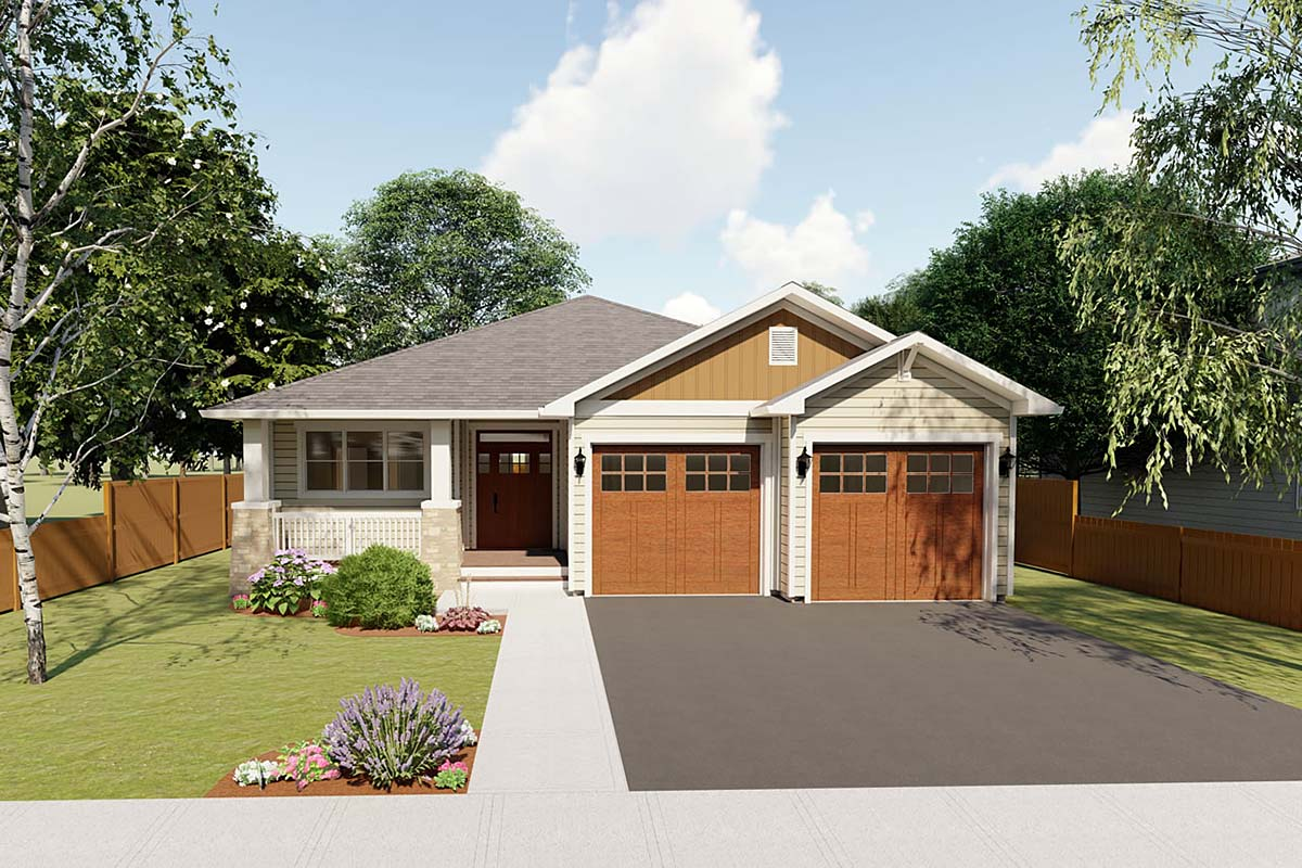 Craftsman, Traditional House Plan 96228 with 3 Beds, 2 Baths, 2 Car Garage Elevation