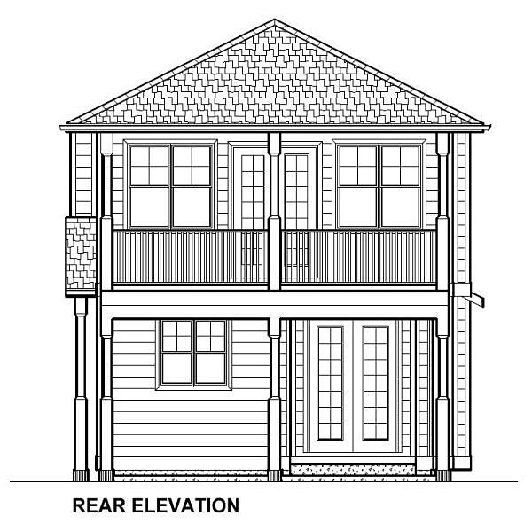 Traditional Multi-Family Plan 96230 with 5 Beds, 4 Baths Rear Elevation