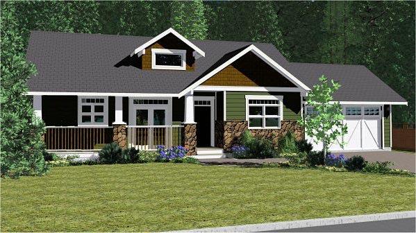 Craftsman, Ranch House Plan 96233 with 2 Beds, 2 Baths, 2 Car Garage Elevation