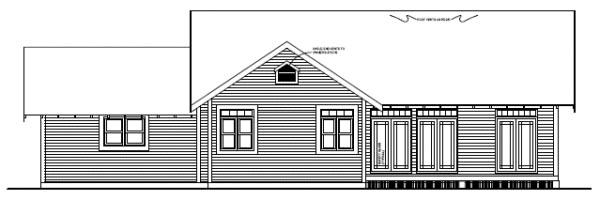 Craftsman, Ranch House Plan 96233 with 2 Beds, 2 Baths, 2 Car Garage Rear Elevation
