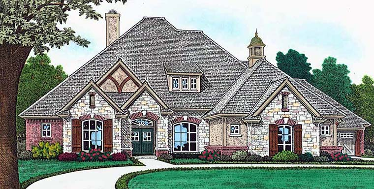European, French Country House Plan 96336 with 4 Beds, 4 Baths, 4 Car Garage Elevation