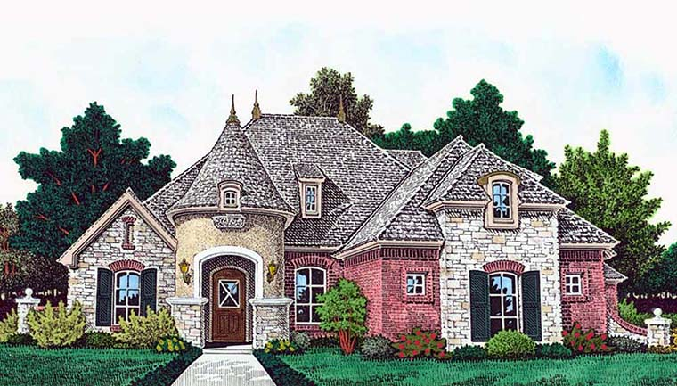 European, French Country House Plan 96339 with 4 Beds, 3 Baths, 3 Car Garage Elevation