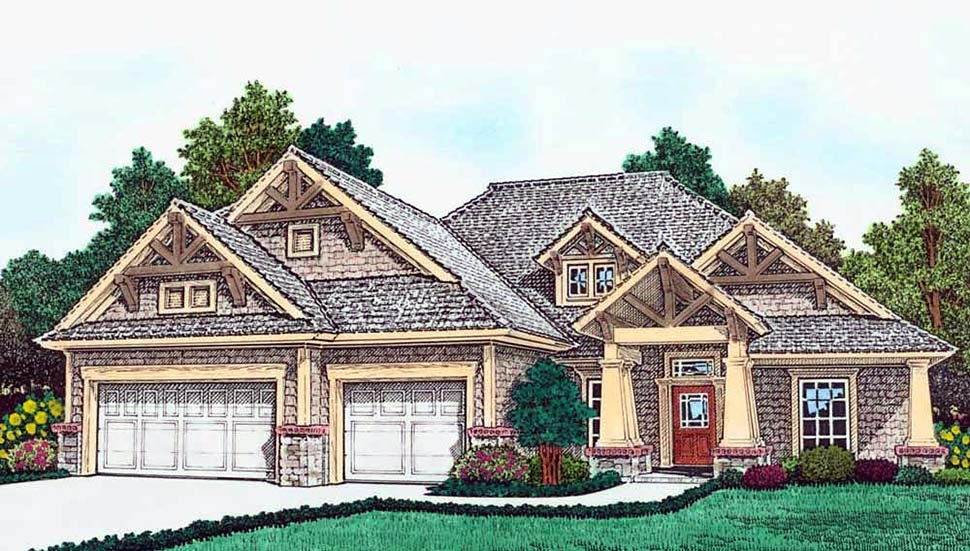 Bungalow, Craftsman, Southern House Plan 96342 with 3 Beds, 2 Baths, 3 Car Garage Elevation