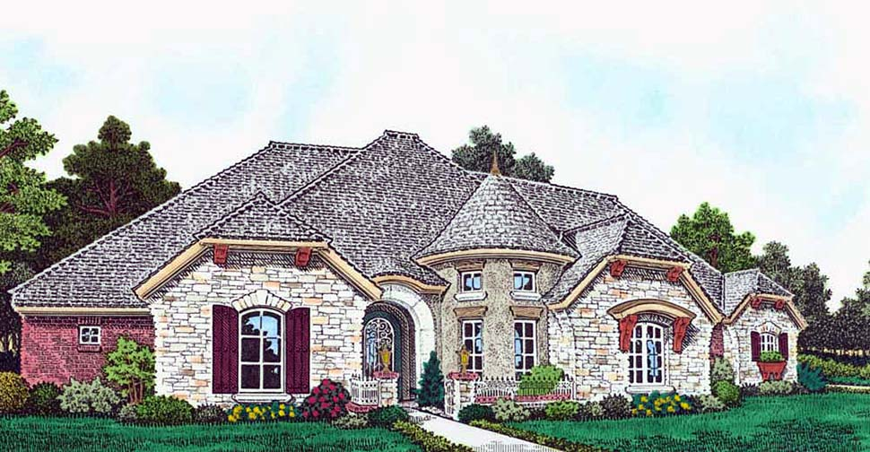 European, French Country House Plan 96343 with 4 Beds, 4 Baths, 4 Car Garage Elevation