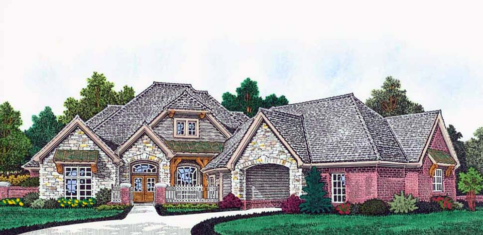 Craftsman, European, French Country House Plan 96345 with 4 Beds, 5 Baths, 4 Car Garage Front Elevation