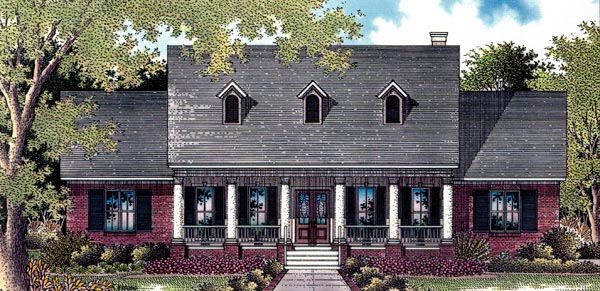 Cape Cod, Colonial, One-Story House Plan 96521 with 4 Beds, 4 Baths, 2 Car Garage Front Elevation