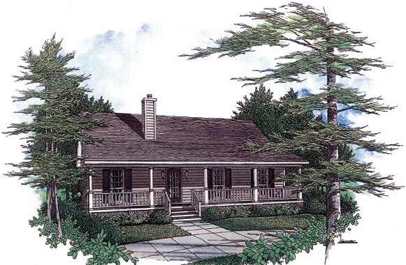Cabin, Country, Ranch House Plan 96559 with 3 Beds, 2 Baths Front Elevation