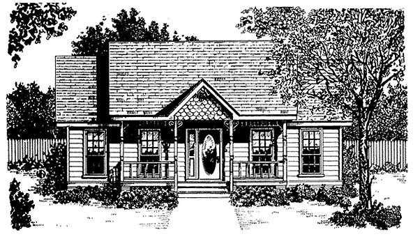 Craftsman, Traditional House Plan 96562 with 2 Beds, 2 Baths, 1 Car Garage Elevation