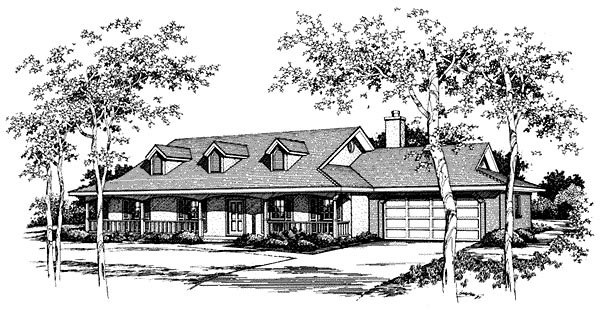 Country, Ranch House Plan 96581 with 3 Beds, 2 Baths, 2 Car Garage Elevation