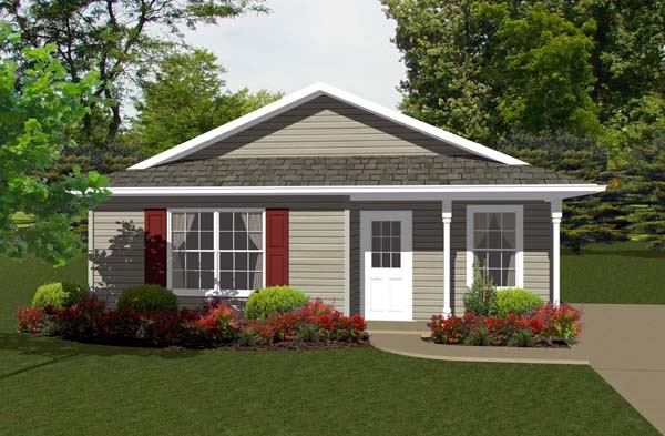 Traditional House Plan 96700 with 2 Beds, 1 Baths Front Elevation