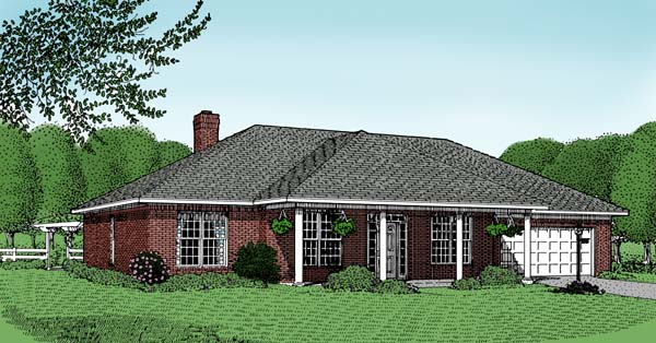 Traditional House Plan 96806 with 3 Beds, 2 Baths, 2 Car Garage Elevation