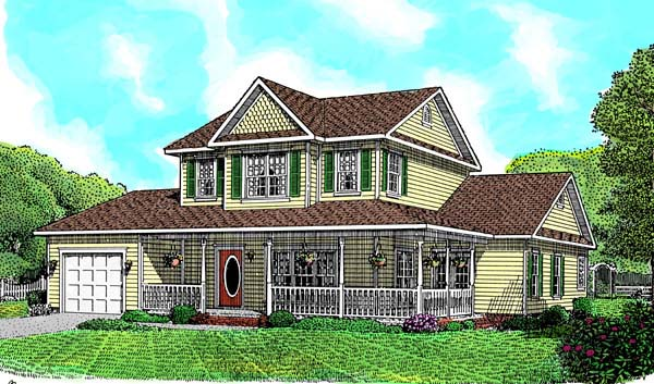 Country, Farmhouse House Plan 96808 with 3 Beds, 3 Baths, 2 Car Garage Elevation