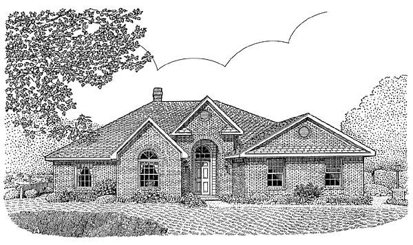 European House Plan 96810 with 4 Beds, 2 Baths, 2 Car Garage Elevation