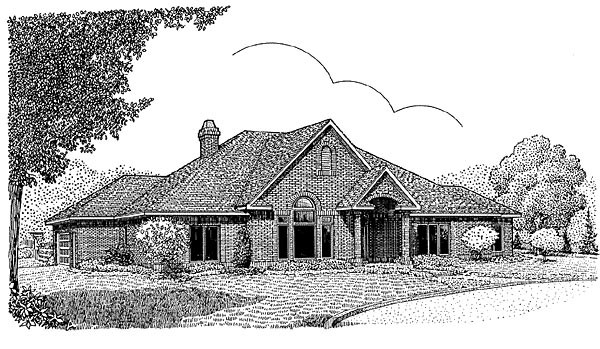 European House Plan 96812 with 3 Beds, 3 Baths, 2 Car Garage Elevation