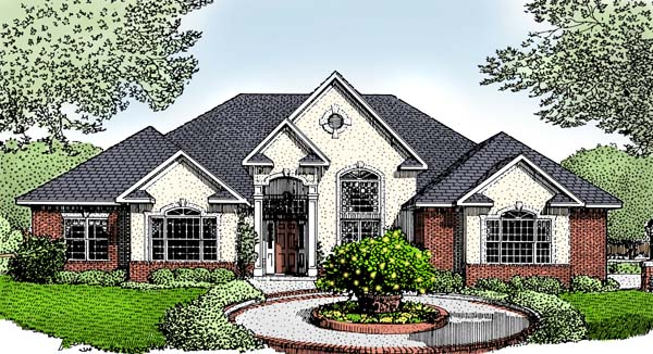 European House Plan 96813 with 3 Beds, 2 Baths, 2 Car Garage Elevation