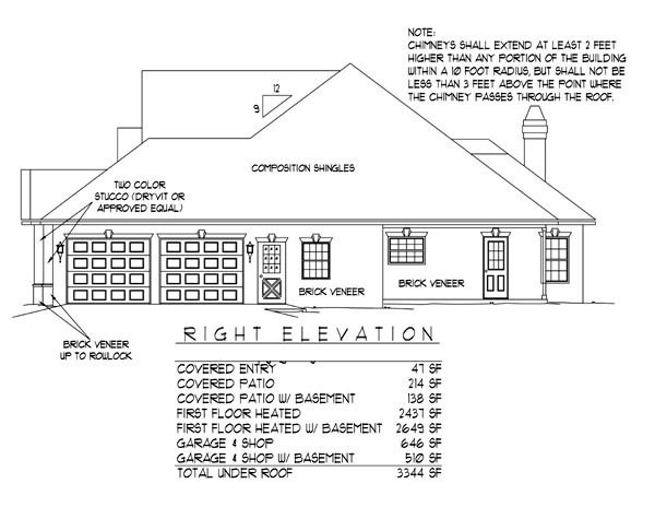 European House Plan 96813 with 3 Beds, 2 Baths, 2 Car Garage Picture 1