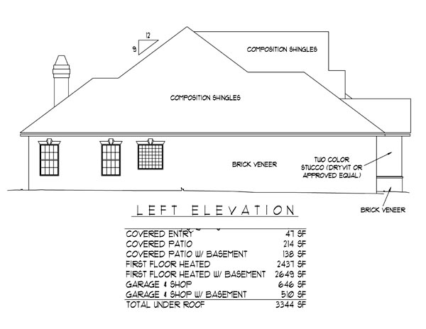 European House Plan 96813 with 3 Beds, 2 Baths, 2 Car Garage Picture 2