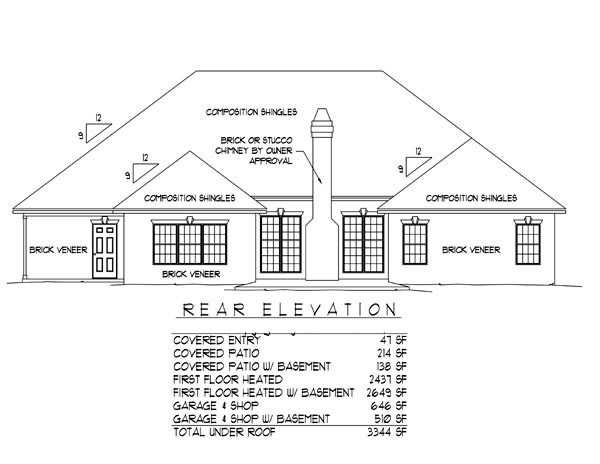 European House Plan 96813 with 3 Beds, 2 Baths, 2 Car Garage Rear Elevation