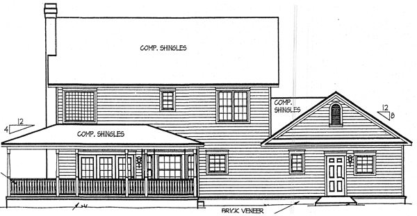 Country, Farmhouse House Plan 96815 with 4 Beds, 4 Baths, 2 Car Garage Rear Elevation