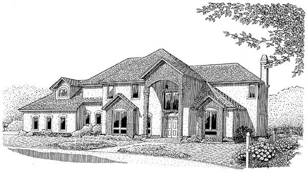 Colonial, European House Plan 96816 with 4 Beds, 3 Baths, 3 Car Garage Elevation