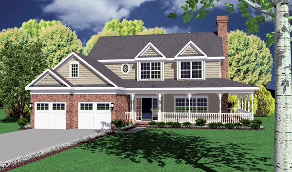 Country, Traditional House Plan 96822 with 4 Beds, 3 Baths, 2 Car Garage Elevation