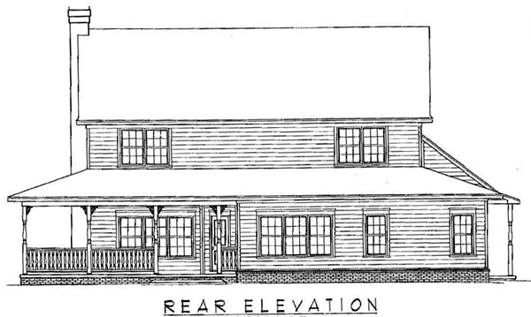 Country, Traditional House Plan 96822 with 4 Beds, 3 Baths, 2 Car Garage Rear Elevation