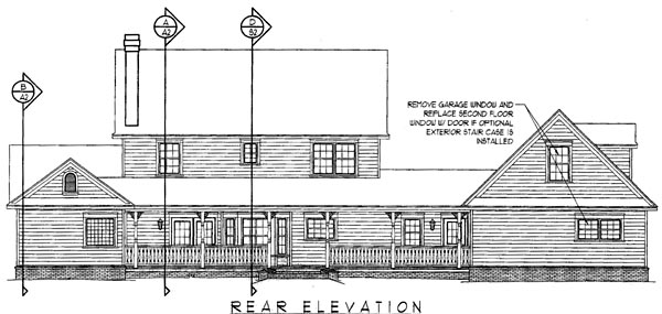 Country, Farmhouse House Plan 96823 with 4 Beds, 3 Baths, 2 Car Garage Rear Elevation
